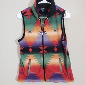 Southwestern style fleece Full Zip Vest